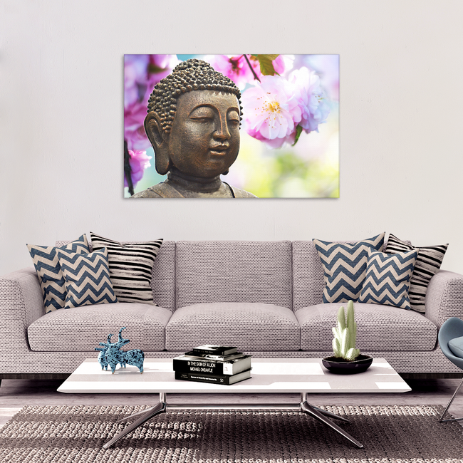 Buddha In Spring Canvas Wall Art -  With Spring Blossoms and Buddha, Available in 4 Sizes - Mind Body Spirit