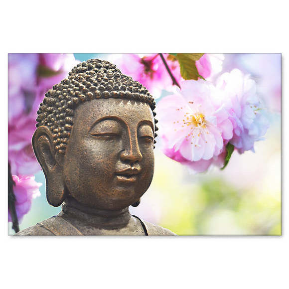 Buddha In Spring Canvas Wall Art -  With Spring Blossoms and Buddha, Available in 4 Sizes