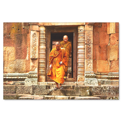 Buddhist Monks at Temple Canvas Wall Art Decor in 4 Sizes - Mind Body Spirit