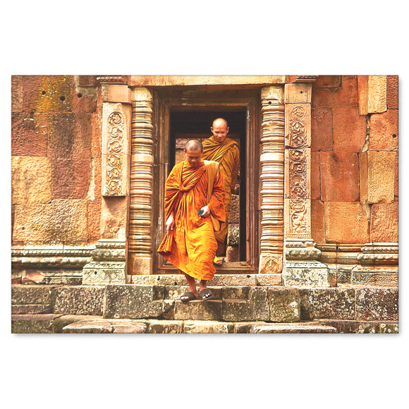 Buddhist Monks at Temple Canvas Wall Art Decor in 4 Sizes