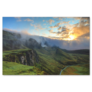 Highlands and Valley With Mist Canvas Wall Art - Rectangle in 4 Sizes - Mind Body Spirit