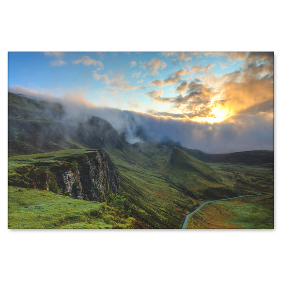 Highlands and Valley With Mist Canvas Wall Art - Rectangle in 4 Sizes