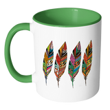 Four Feathers 11 Oz Coffee, Tea And Cocoa Mugs - 7 Colors - Mind Body Spirit