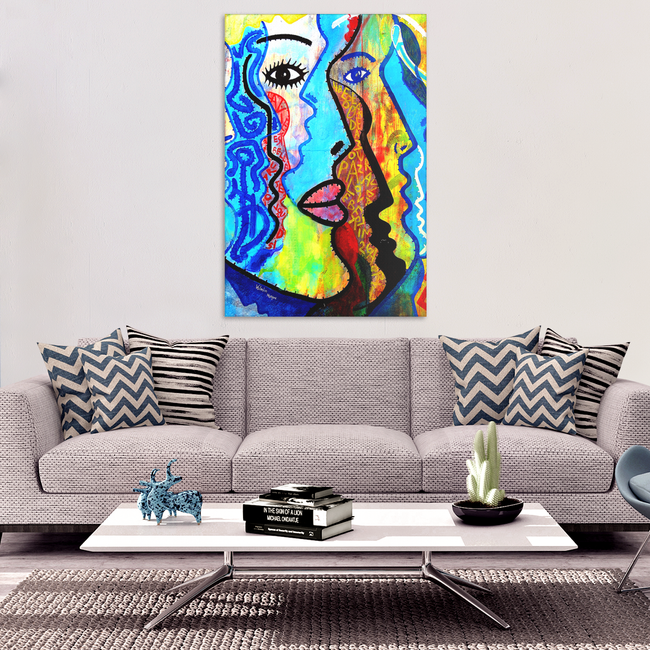 Faces of Graffiti Colorful Art Design Canvas Wall Art - Rectangle - 4 Sizes - Mind Body Spirit