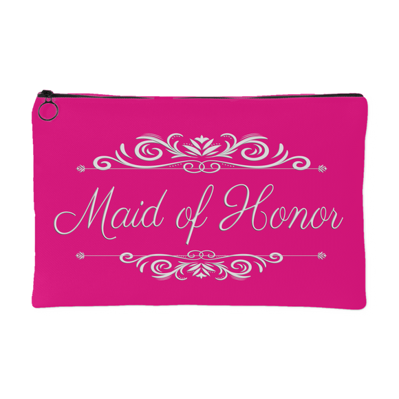 'Grace' Classic Hot Pink Maid of Honor Zippered Accessory Pouch 8 x 5 - Mind Body Spirit