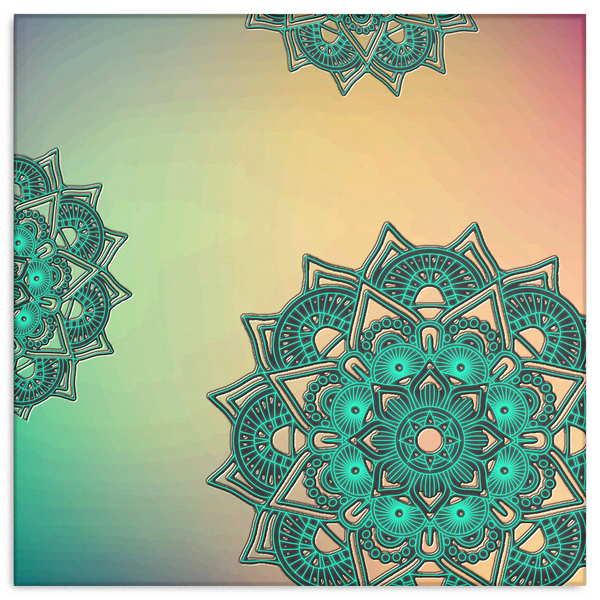 Teal Mandalas on Pastel Wash Canvas Wall Art Decor in 4 Sizes - Mind Body Spirit