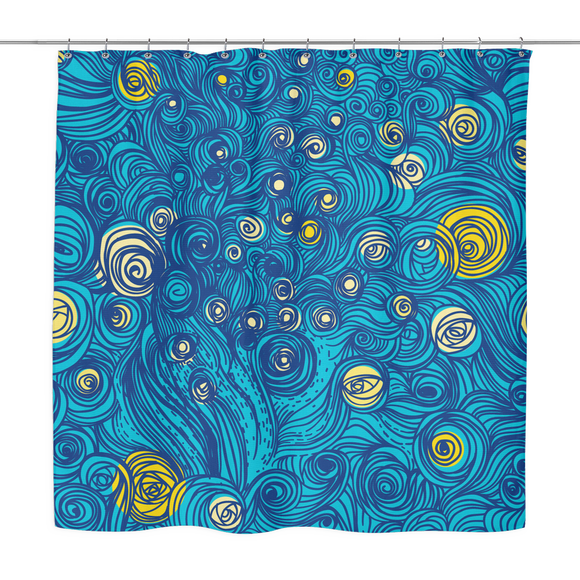 Blue Swirl Abstract Shower Curtain 70 x 70 - Mind Body Spirit