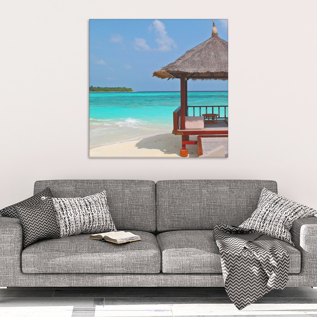 Beach Hut Canvas Wall Art - Turquoise Blue Water with Beach Hut in 4 Sizes, - Mind Body Spirit