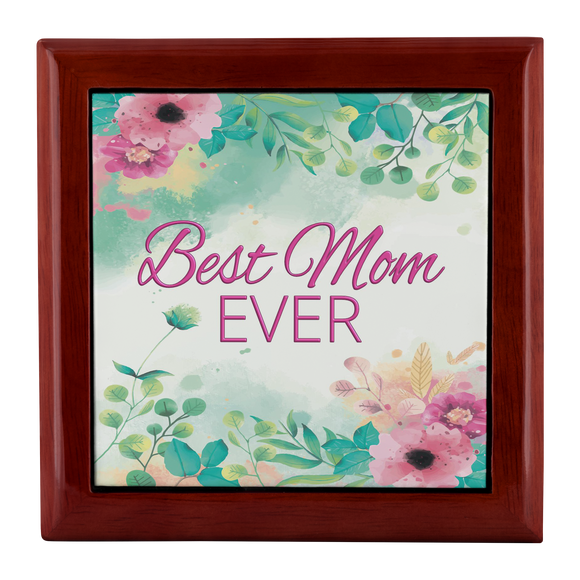 Best Mom Ever Watercolor Floral Custom Designed Wood Jewelry Box, 3 Colors