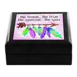 Be Brave Boho Feathers Arrow Wooden Jewelry Box in 3 Colors