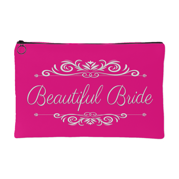 'Grace' Beautiful Bride Classic Hot Pink Zippered Accessory Pouch 8 x 5 - Mind Body Spirit