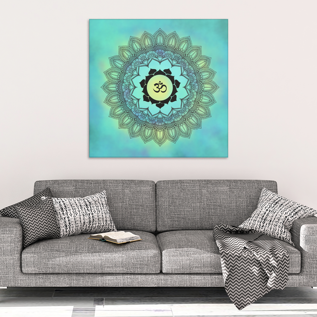 Mandala Om Turquoise Canvas Wall Art - Wonderful Symbolic Art in 4 Sizes; 8x8, 16x16, 24x24, 40x40 - Mind Body Spirit