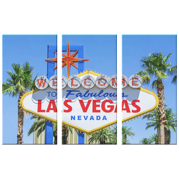Las Vegas Iconic Sign Triptych 3 Panel Custom Canvas Wall Art, 3 Sizes, Living Room, Family Room, Office, Den, Bedroom,