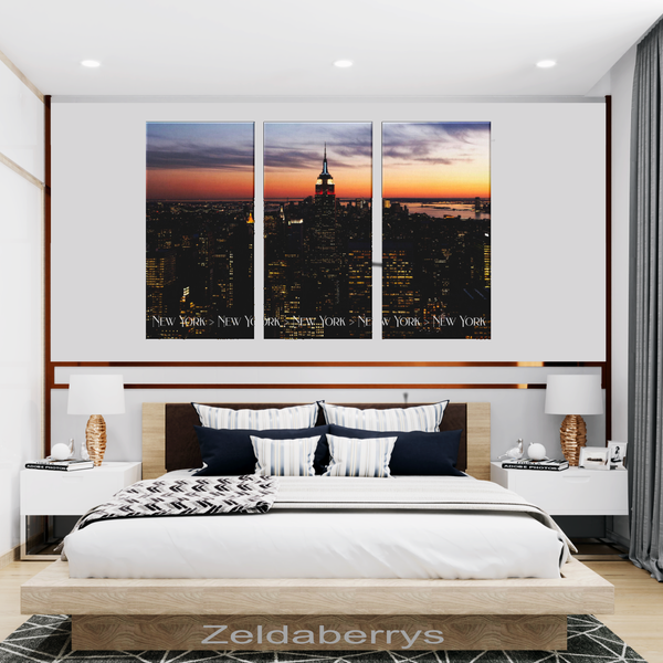 New York City Evening Sunset Triptych 3 Panel Custom Canvas Wall Art, 3 Sizes, Living Room, Bedroom, Family Room, Den, Office - Mind Body Spirit