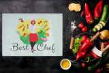 Best Chef Woman Designer Cutting Board - Durable Tempered Glass