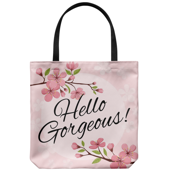 Hello Gorgeous Pink Blossom Custom Design Tote Bag 18 x 18 - Mind Body Spirit