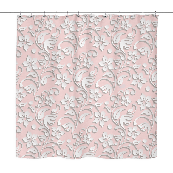 Bria - White Embossed Floral Print Shower Curtain 70 x 70 Grey, Pink, Periwinkle, White, Sage