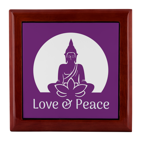 Love and Peace Buddha with Lotus Wooden Jewelry Box - 3 Wood Colors
