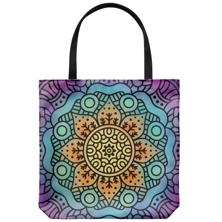 Peace and Love Tote Bag 18 x 18 - Orange, Soft Teal, Gray