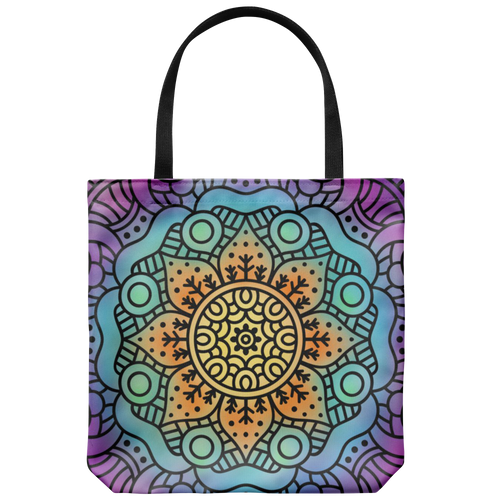 'Hesper' Mandala Floral Custom Design Tote Bag 18 x 18 - Mind Body Spirit