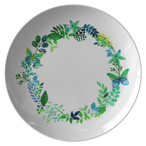 Butterfly Wreath Watercolor Designer Dinner Plate 10 Inches - Microwave, Dishwasher Safe - Mind Body Spirit