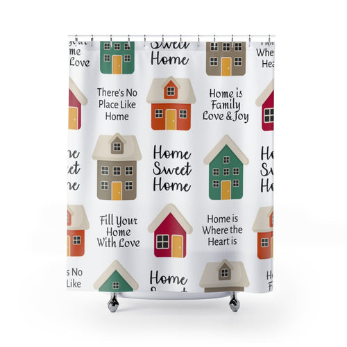 Home Sweet Home Houses Fabric Shower Curtain Custom Design Bathroom Decor 71 x 74