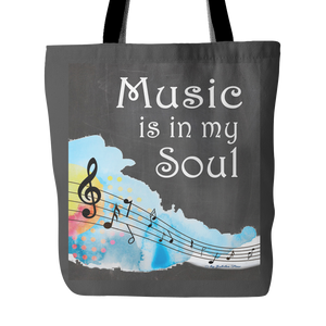 Music Is In My Soul Tote Bag 18 x 18 - Gray