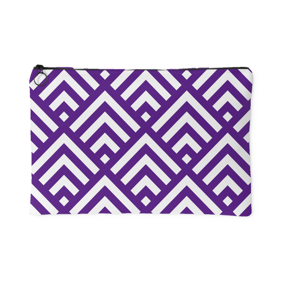 'Deana' Diamond Deco Custom Design Accessory Pouch, 2 Sizes Purple