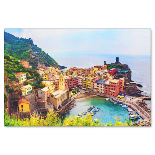 Italian Town Nestled Near The Sea Canvas Wall Art in 4 Sizes; 8x12, 16x24, 20x30,24x36 - Mind Body Spirit