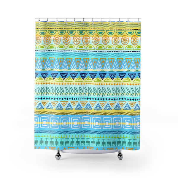Hip Print in Yellow Turquoise Green Fabric Shower Curtain Custom Design Bathroom Decor 71 x 74
