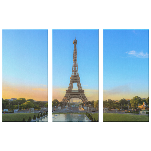 Eiffel Tower Paris France Gorgeous Triptych, 3 Panel Custom Canvas Wall Art Decor, 3 Sizes, Living Room, Family Room, Den, Bedroom, Office - Mind Body Spirit