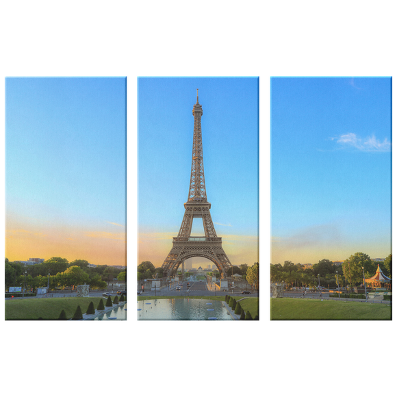 Eiffel Tower Paris France Gorgeous Triptych, 3 Panel Custom Canvas Wall Art Decor, 3 Sizes, Living Room, Family Room, Den, Bedroom, Office