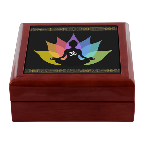 Buddha Om Lotus Designer Wooden Jewelry Box in 3 Colors - Mind Body Spirit