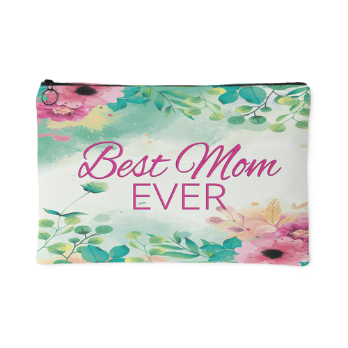 'Best Mom Ever' Watercolor Floral Custom Designed Accessory Pouch, 2 Sizes - Mind Body Spirit