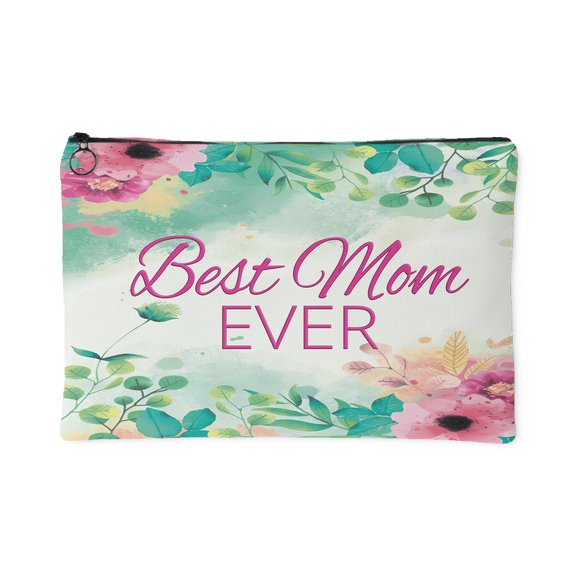 'Best Mom Ever' Watercolor Floral Custom Designed Accessory Pouch, 2 Sizes