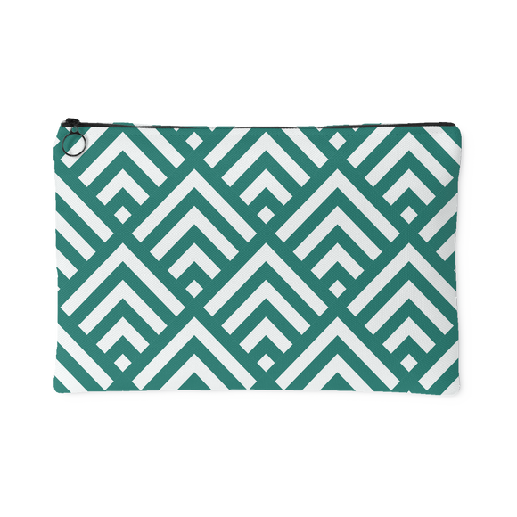 'Deana' Diamond Deco Custom Design Accessory Pouch, 2 Sizes Teal