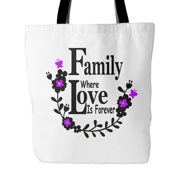 Family Love Forever Tote Bag 18 x18 - Purple - Mind Body Spirit