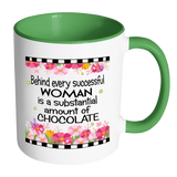 Behind Every Successful Woman Ceramic Mug 11 oz with Color Glazed Interior in 7 Colors