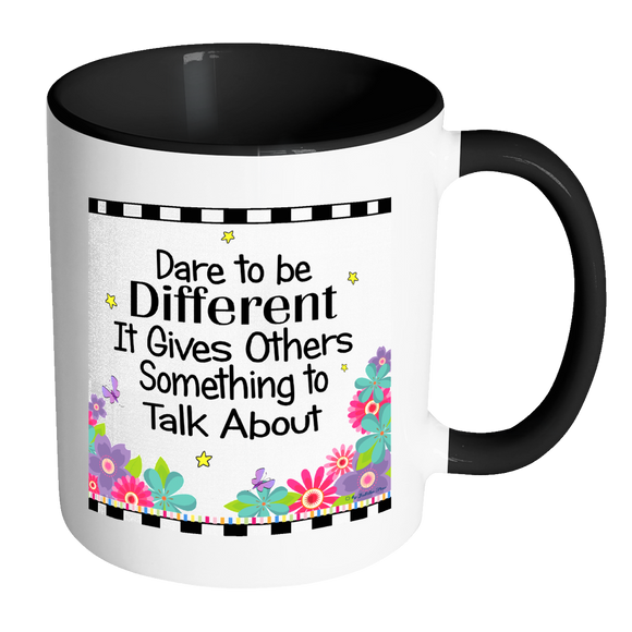 Dare To Be Different Ceramic Mug 11 oz with Color Glazed Interior in 7 Colors, Coffee Mugs - Mind Body Spirit