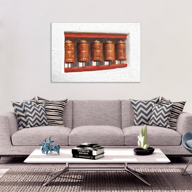 Prayer Wheels on Wall Canvas Wall Art - Unique Expression of Healing in 4 Sizes - Mind Body Spirit