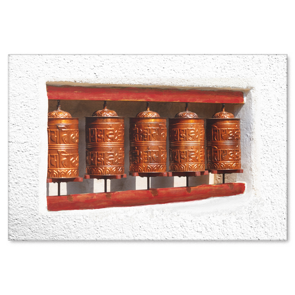 Prayer Wheels on Wall Canvas Wall Art - Unique Expression of Healing in 4 Sizes