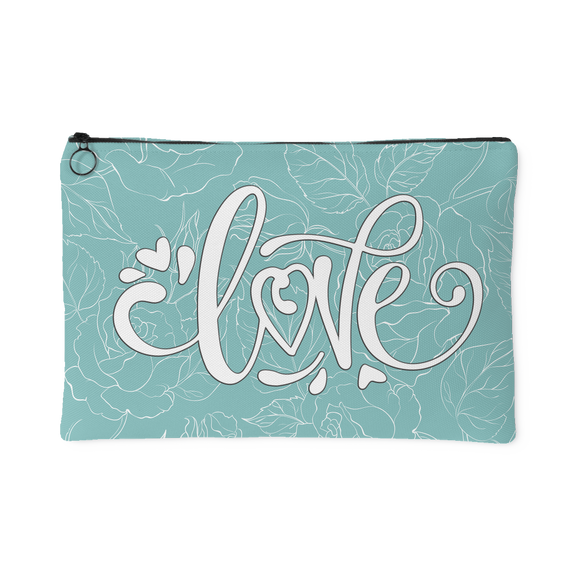 Love and Roses Custom Design Accessory Pouch Soft Teal, 2 Sizes - Mind Body Spirit
