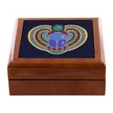 Egyptian Scarab Heart Design Custom Wooden Jewelry Box in 3 Colors