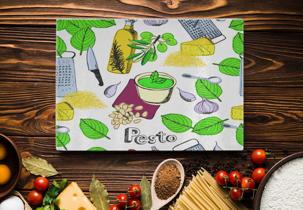 Fresh Pesto & Herbs Designer Cutting Board - Tempered Glass - Mind Body Spirit