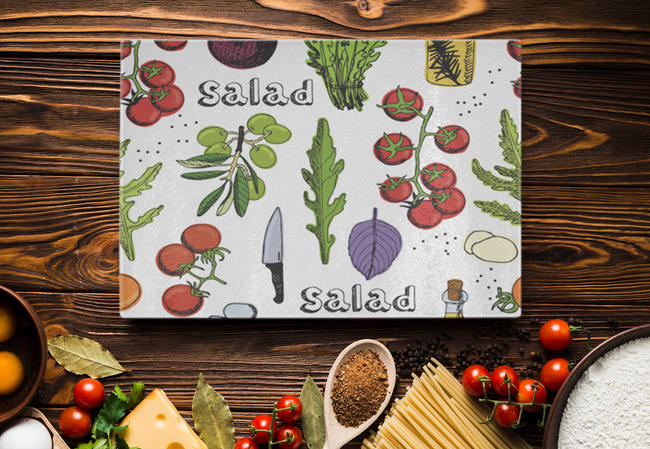 Fresh Salad Designer Cutting Board - Durable Tempered Glass - Mind Body Spirit