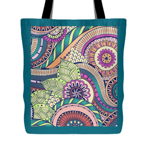 Abstract Swirls Multi-Color Print 18 x 18 Tote Bag - Teal