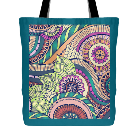 'Andi' Folk Flowers Custom Design Tote Bag 18 x 18