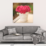 Red Hydrangea Flower Pot Canvas Wall Art in 4 Sizes; 8x8, 16x16, 24x24, 40x40 - Mind Body Spirit