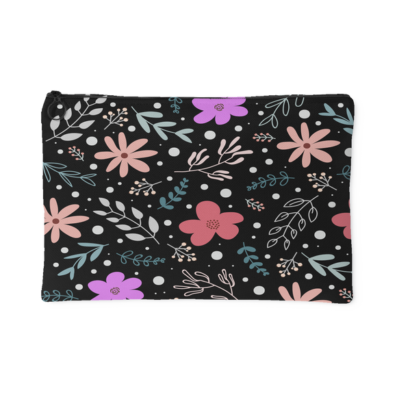 'Andi' Folk Flowers Custom Design Accessory Pouch, 2 Sizes - Mind Body Spirit