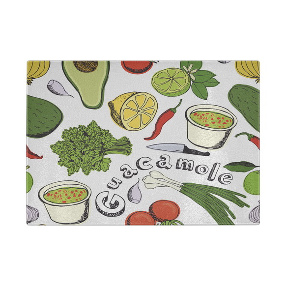 Fresh Guacamole Designer Cutting Board - Durable Tempered Glass - Mind Body Spirit
